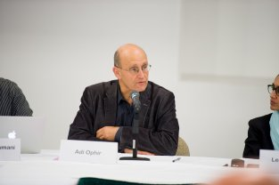 Professor Adi Ophir of the Cogut Center for the Humanities makes a comment during the first panel