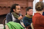 Professor Bhrigupati Singh of Brown's Department of Anthropology asks a question during the second panel