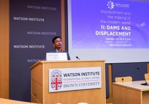 Mellon Sawyer Postdoctoral Research Associate Vikramaditya Thakur introduces the speakers