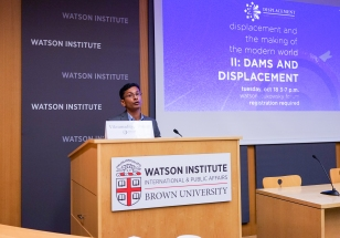 Mellon Sawyer Postdoctoral Research Associate Vikramaditya Thakur introduces the speakers
